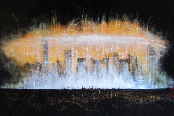 Francois Haguier - Tableaux skyline New  York  by train 1, 36 x 48, 2014