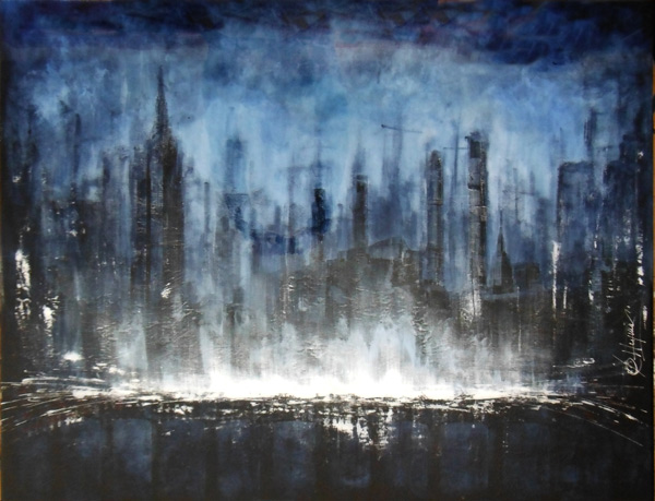 Francois Haguier - Tableaux skyline  New York Blue