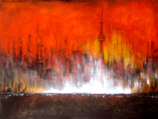 Francois Haguier - Tableaux skyline Toronto by train, 36 x 48, 2015