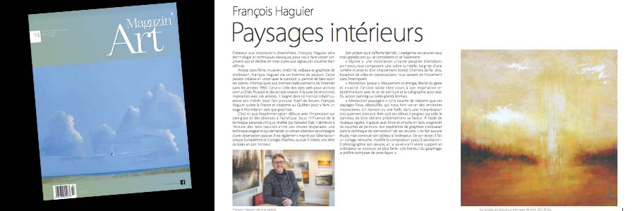Article Magazin art 2020 - Haguier