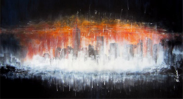 serie art abstrait contemporain skyline urbain